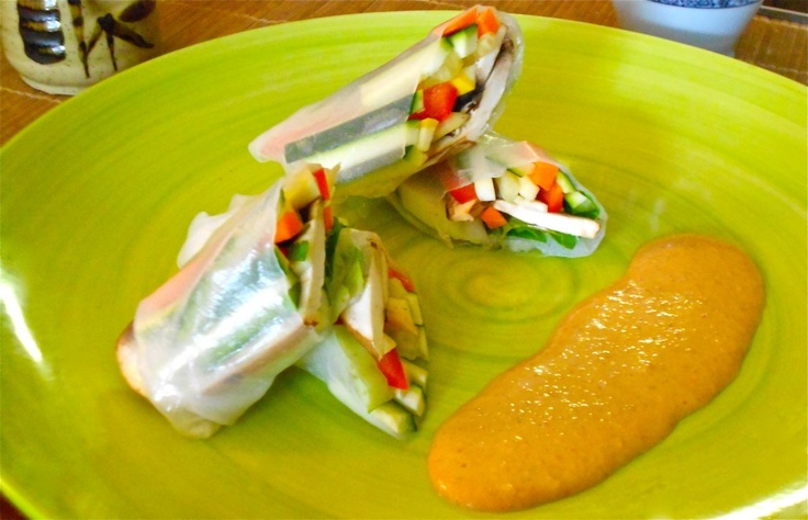 ... Spring Rolls with Spicy Peanut Dipping Sauce (spring roll