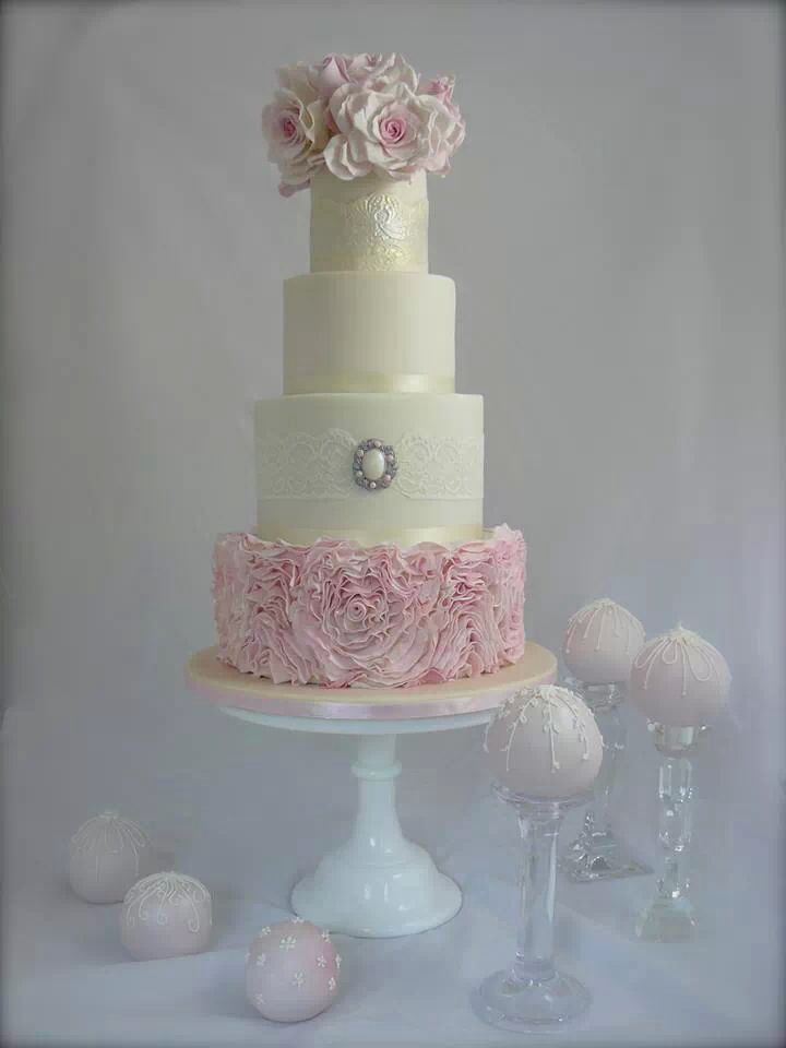 Pink White Ruffle Wedding Cake Wedding Cake Love Pinterest