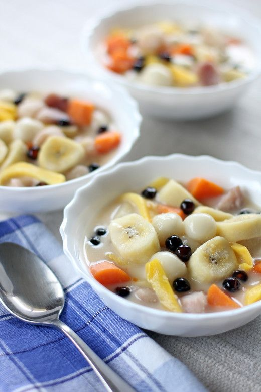 Sweet Coconut Soup With Fruit Pearls Recipes — Dishmaps