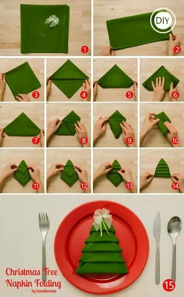 Christmas tree napkin fold. Great and simple way to set the table for Christmas dinner