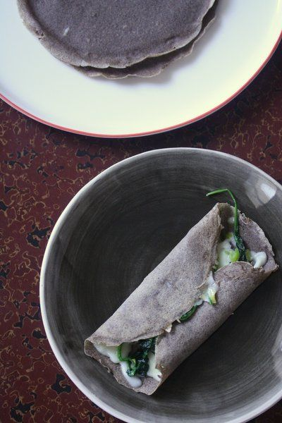Buckwheat Crepes w/ Greens & Gruyere. Buckwheat's also #glutenfree so...