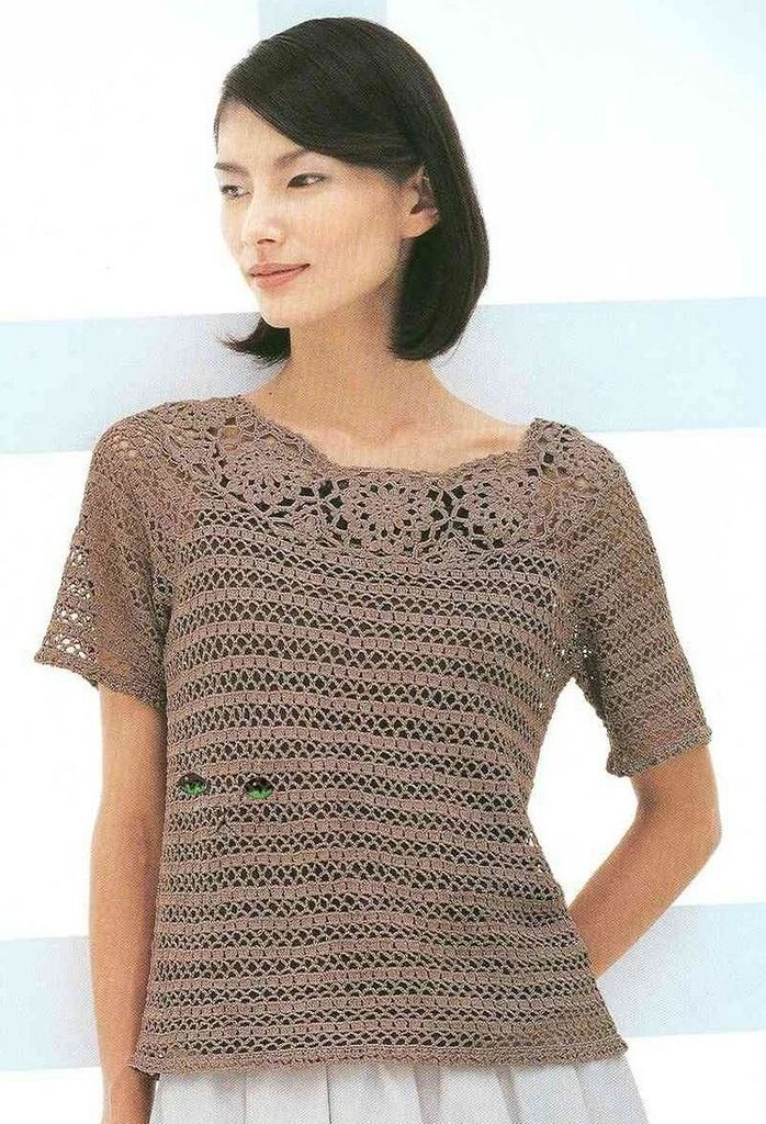 Crochet Free Patterns Blouse : Free crochet pattern top blouse shirt Mostly crochet ...