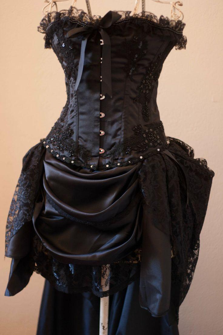 Black Gypsy Steampunk Black Burlesque Corset Costume