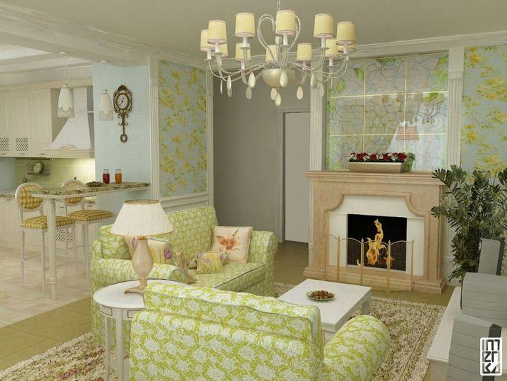 Интерьер в зеленых в стиле прованс
