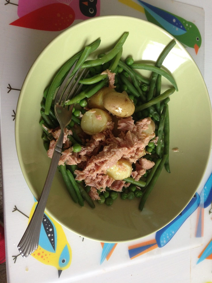 Lunch salad: Tuna: 3 Potatoes: 2 Green beans: 0