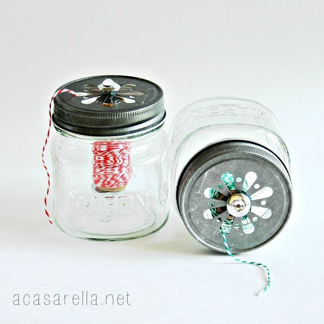 'A Casarella: Mini Mason Jar Twine Dispensers