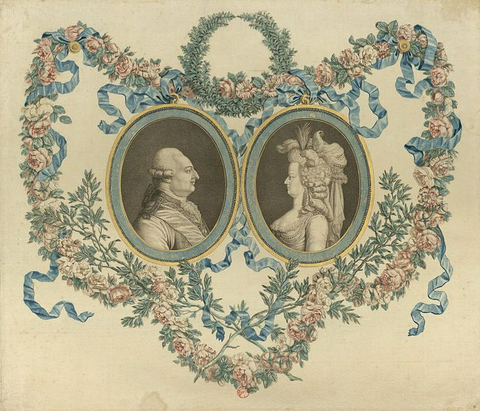 Engraved and colored portraits of Louis XVI of France and his wife Marie Antoinette