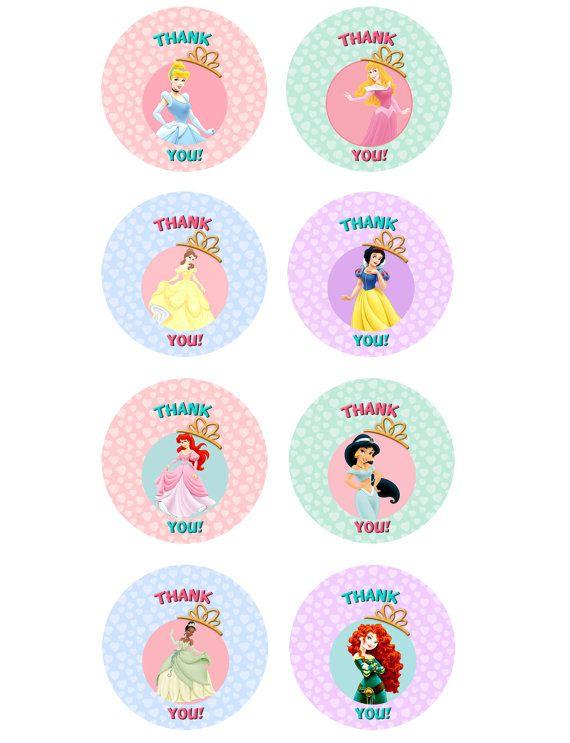 "Disney Princesses Printable ""Thank You"" Labels/ Tags"