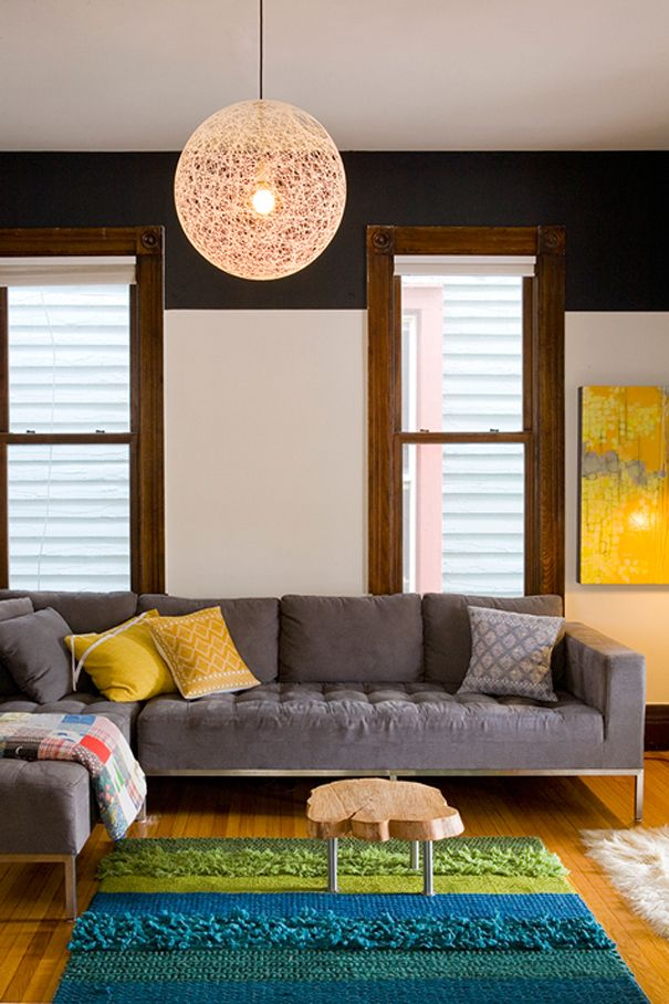 i love how modern and simple everything feels, but then there are old wooden windows..
