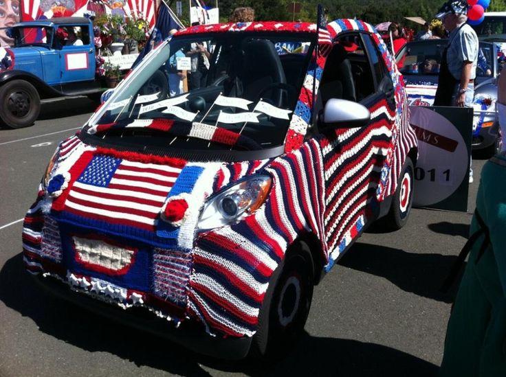 Patriotic Yarn Bombed Smart Car July 4, 2011, Sonoma, CA!