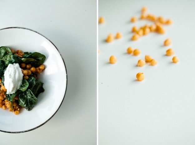 Harissa chickpeas with spinach and a dollop of yogurt looks delicious ...