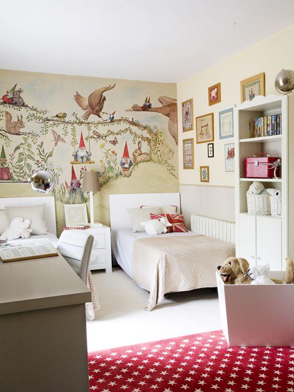 decoracao de interiores paredes pintadas:de quarto para crianças. As paredes foram pintadas com desenhos de