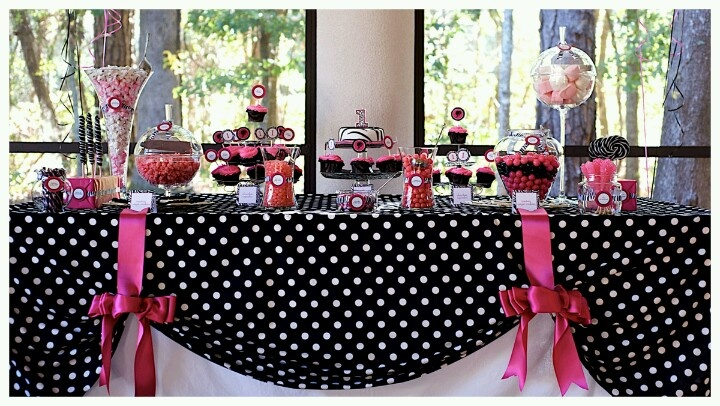 Black white polka dots with pinkp dessert table ideas for Black and white polka dot decorations