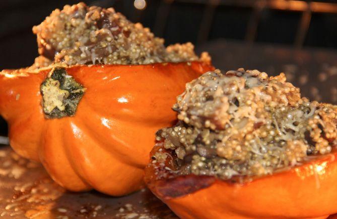 Roasted Acorn Squash Stuffed w/ Quinoa & Mushrooms