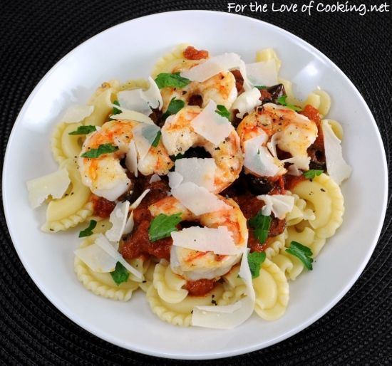 SHRIMP AND OLIVE MARINARA OVER GALLETTI TOPPED WITH PARMESAN