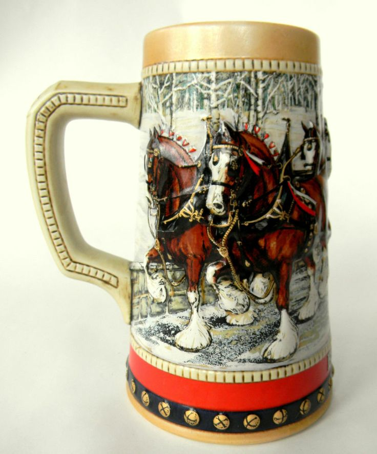 Budweiser clydesdales holiday beer stein mug 1988 my dad collected