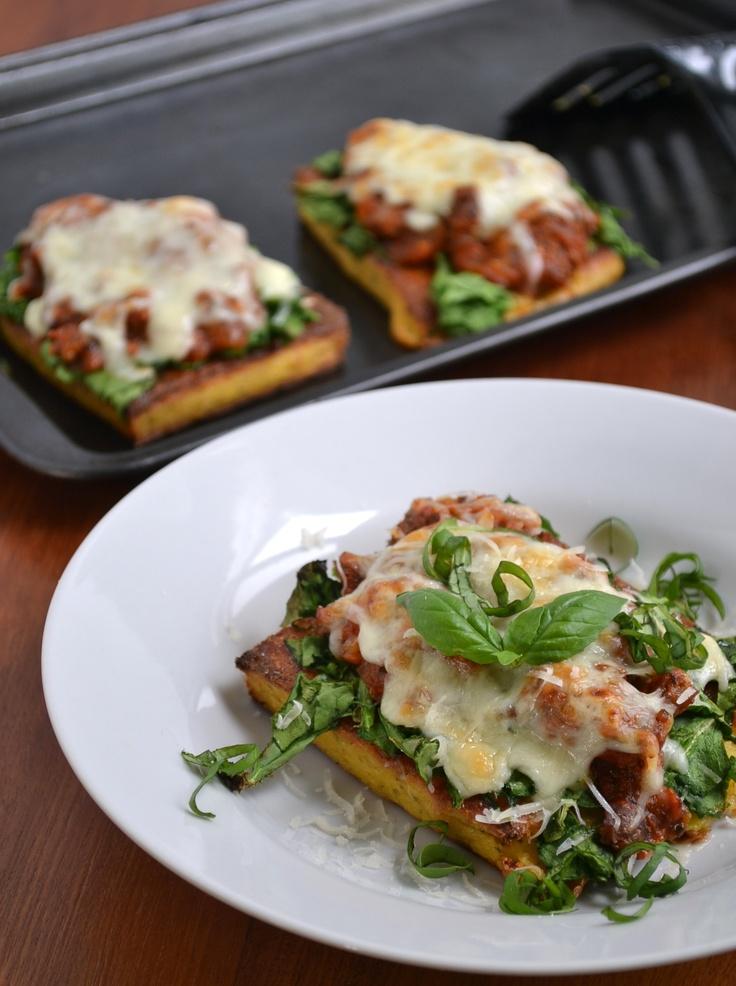 Polenta lasagna. Use vegan cheese | Yummy! | Pinterest
