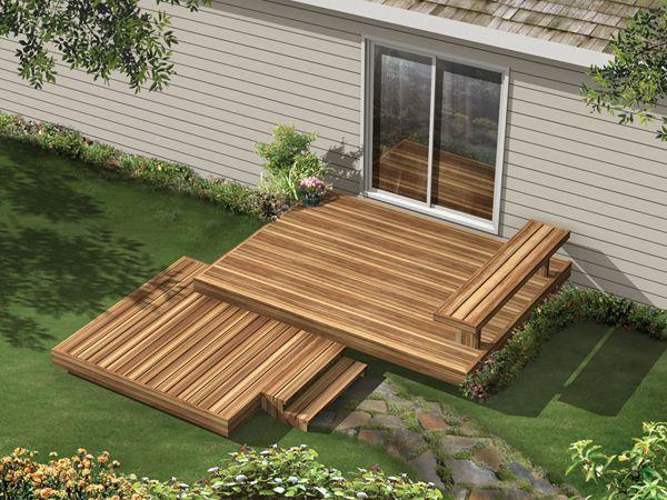 Tiered ground level deck small yard and garden ideas for Design couchtisch multilevel l