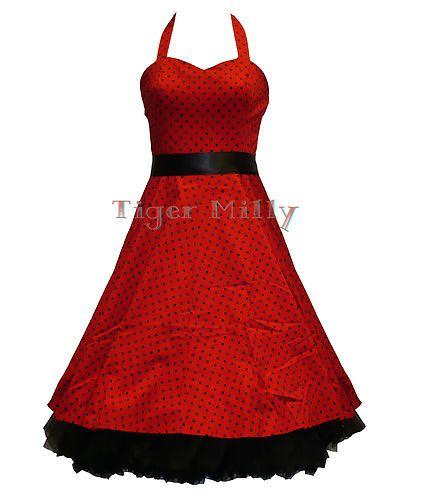 Robe Rockabilly HEARTS & ROSES Rétro Année 50 Rouge à Petits Pois