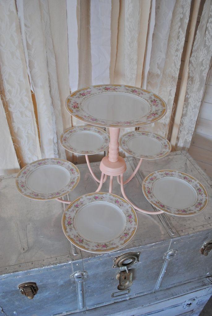 repurposed chandelier turned dessert/cake display!