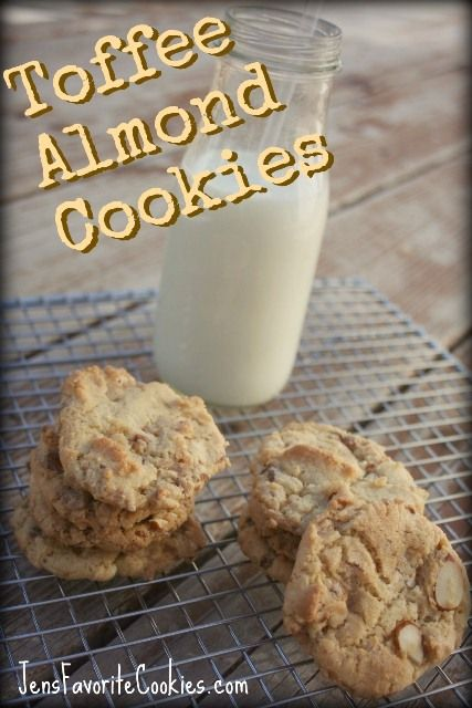Toffee Almond Cookies -- A crispy cookie with toffee bits and chopped ...