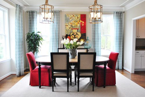 red and aqua dining room