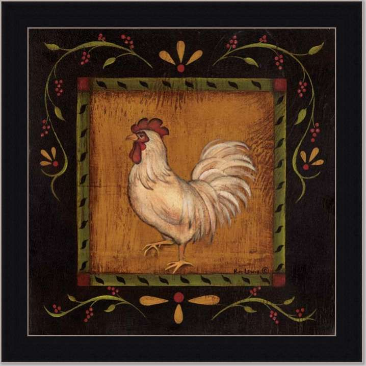 rooster ii country cottage decor kitchen framed