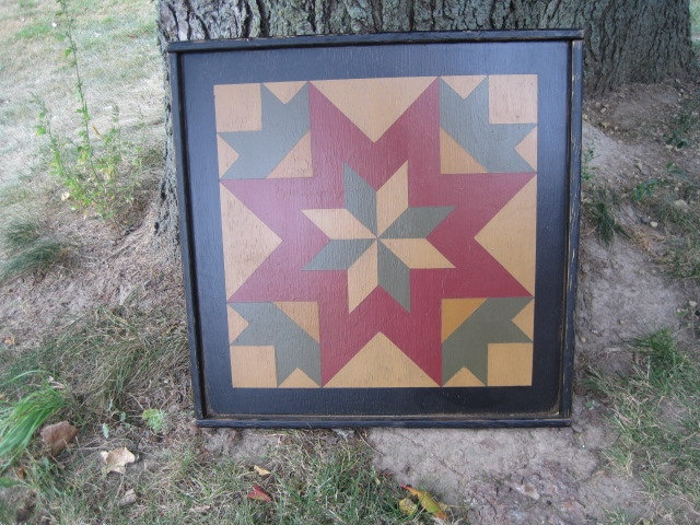 PriMiTiVe Hand-Painted Barn Quilt, Framed 2 x2 My Mother s Star Pa?