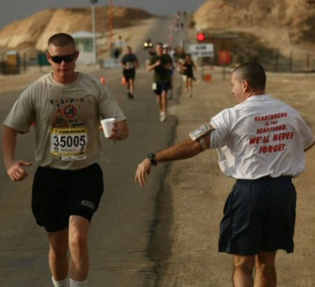 Marine Corps Marathon being run in Iraq.  Deployed service members are able to train and run the race and earn the coveted title of MCM finisher.