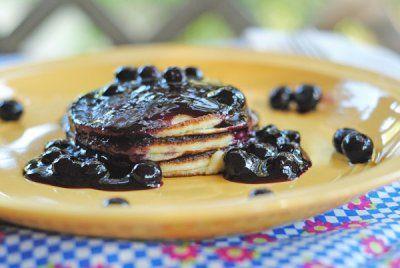 Lemon Ricotta Pancakes with Blueberry Sauce | Juanita's Cocina