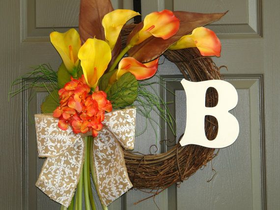 fall wreath autumn wreaths monogram wreaths by aniamelisa on Etsy, $79.00