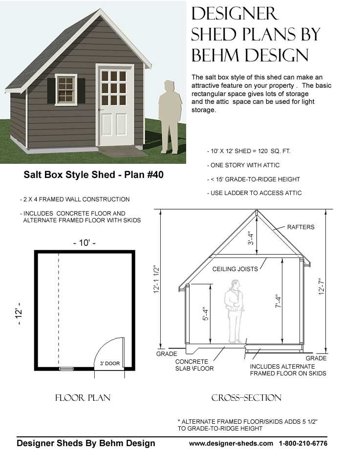 Salt Box Shed Plan 40 Garage Build Pinterest