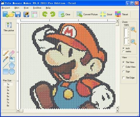 Tile bottle cap mosaic design software artsy for Tile planning software