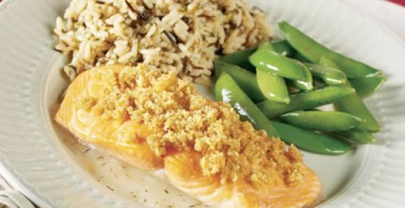 Almond-Crusted Salmon with Thyme & Lemon Butter Sauce | KitchenDaily ...