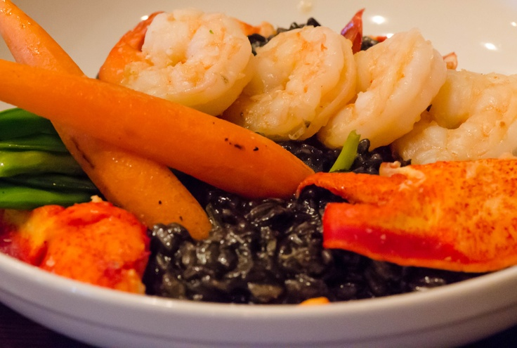 Lobster & Shrimp Risotto tossed in rissotto nero w/seasonal vegetables ...