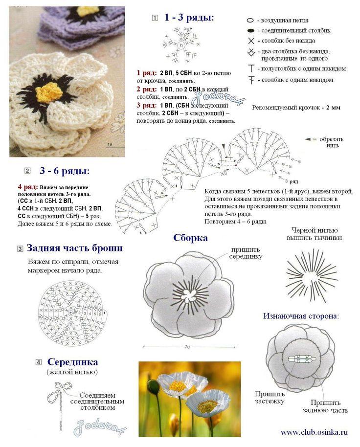 Схемы вязания цветы из пряжи