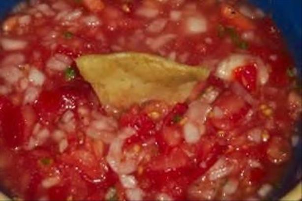 Simple salsa- tomato onion garlic cilantro