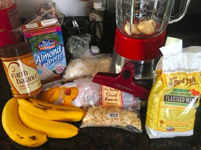 recipe for Almond-Coconut Flax Smoothie: Frozen banana, frozen peaches ...