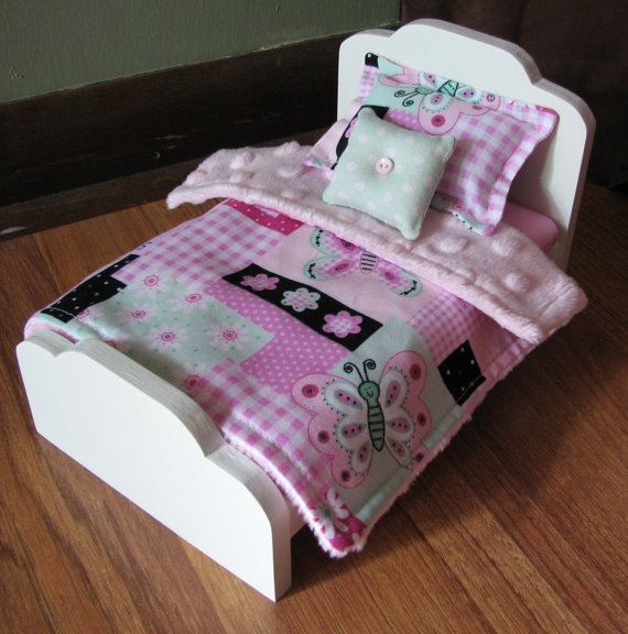 "6 inch doll bed. Mini Doll Bed Frame - 4-3/4"" wide, 7-3/4"" long, 4 1/2"" tall  Mattress - 4-1/2"" x 7"" x 1/2""   Pink Butterfly Bedding"