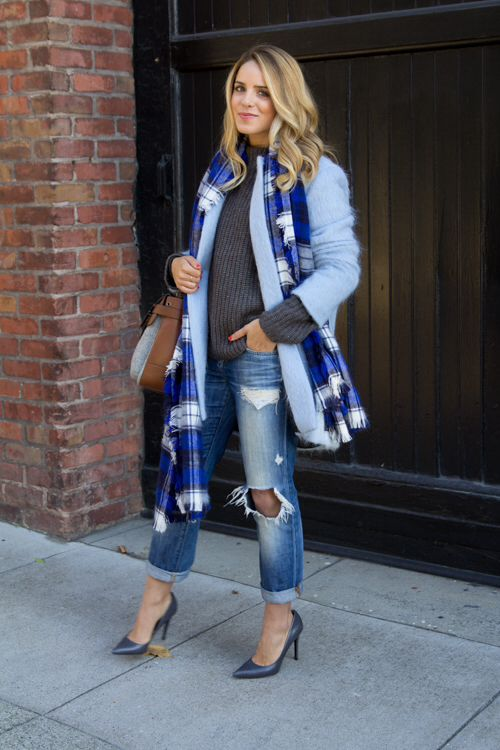 light blue coat with scarf and sweater :: Galmeetsglam.com