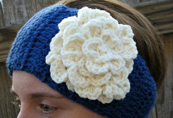 Crochet Pattern For Ear Warmer With Flower : Pin by Julie Bishop on Crochet...Headbands Pinterest