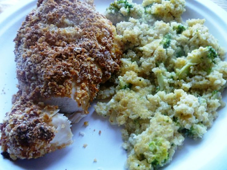 Double-Dipped Oven-Fried Chicken and Broccoli Quinoa Casserole