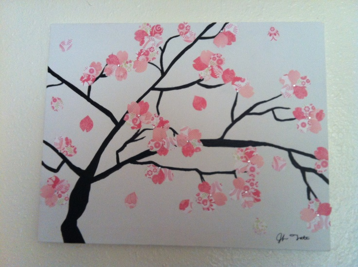 Made this out of scrapbook paper and black paint on a for Canvas painting of cherry blossoms