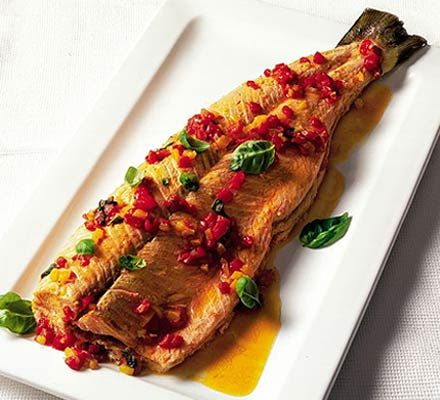 Oven-poached salmon with sweet pepper & basil sauce recipe - Recipes ...