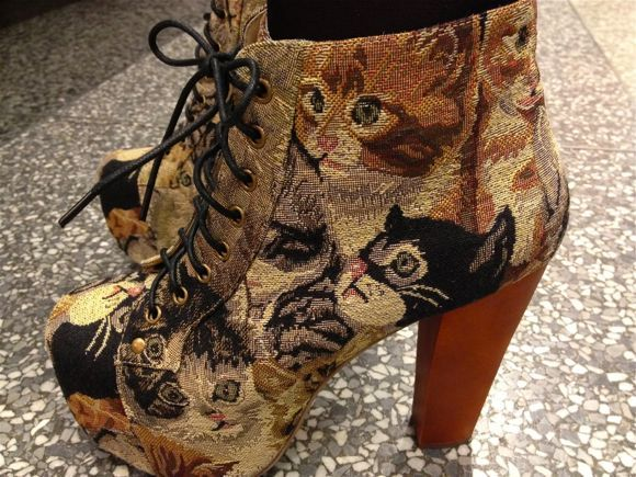Jeffrey Campbell - cat tapestry shoes