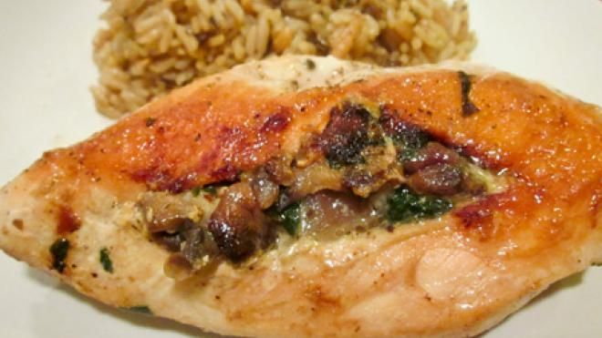 Spinach-Stuffed Chicken Breasts with Mushrooms | Recipe