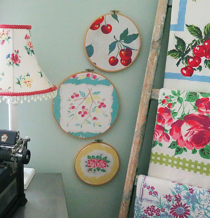 Vintage Fabric In Hoops On Display  Retro  Pinterest