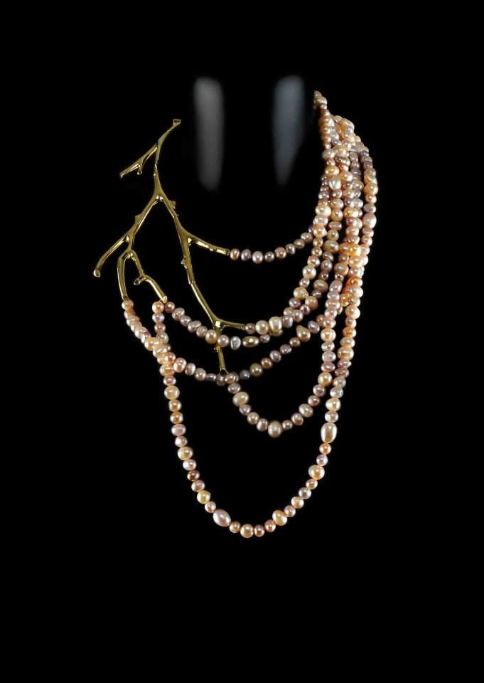 Michael Pelamidis for Aparté jewellery  - Gold platted silver branch necklace with pink pearls, from the Paiva collection -  www.apartejewellery.com
