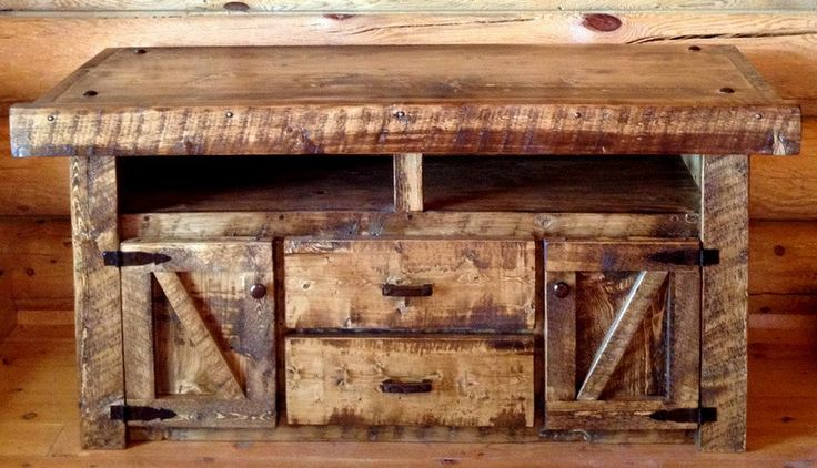 Weathered Wood Rustic Tv Stand For That Rustic Barnwood Look Without The Cost Rusticfurniture