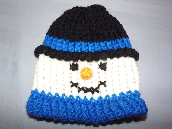 Snowman Hat Knitting Pattern : Baby / Toddler Snowman Knitted Hat Beanie